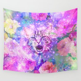 Space Cat | Girly Kitten Cat Romantic Floral Pink Nebula Space Wall Tapestry