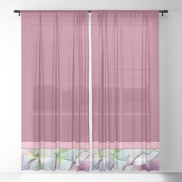 Color Block Mauve With Floral Design Sheer Curtain
