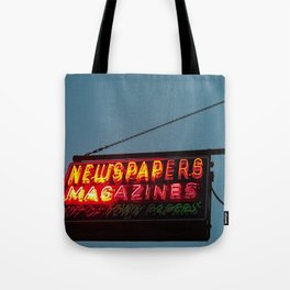 Vintage Neon Newstand Sign ~ Chicago Architecture Tote Bag