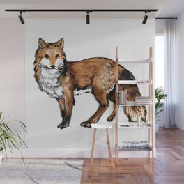 Brushed Fox Wall Mural