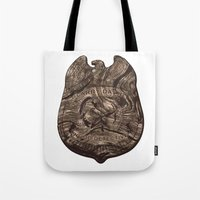 larry david Tote Bags featuring Larry David - Wood Detective  by Florentinasaurus