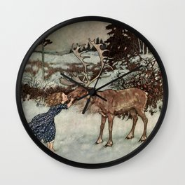 """Gerda Kisses The Reindeer"" by Edmund Dulac Wall Clock"