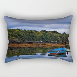 Blue Bottom Boat on the lake, a peaceful landscape  Rectangular Pillow