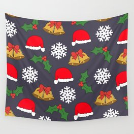 Jingle Bells Christmas Collage Wall Tapestry