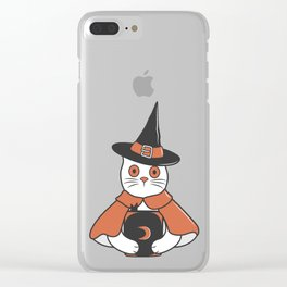 Cat Spell Master on Halloween Clear iPhone Case