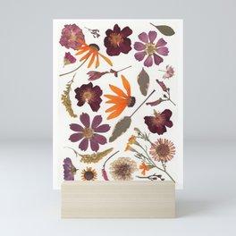Garden Blooms Multicolor Pressed Flower Collage Mini Art Print