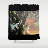 dragons Shower Curtains featuring Dragons by Nell Fallcard