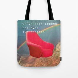 We've been around for over two decades (Red chair and the Grand Canyon) Tote Bag