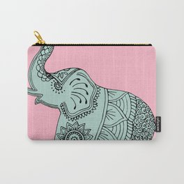 Elephant doodle in mint and pink. Carry-All Pouch