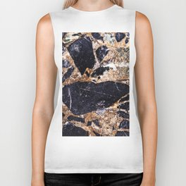 Black and Gold Marble Biker Tank