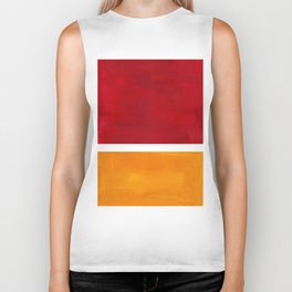 Burnt Red Yellow Ochre Mid Century Modern Abstract Minimalist Rothko Color Field Squares Biker Tank