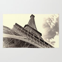 The famous Eiffel Tower in Paris, France in sepia. Vintage photography Rug