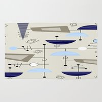 mid century modern Area & Throw Rugs featuring Mid-Century Modern Atomic Era by Kippygirl