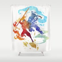 korra Shower Curtains featuring Avatar Ang & Korra by Penelopeloveprints