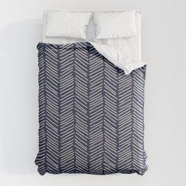Herringbone Dashes Geometric Arrows Pattern in Navy Indigo Blue Comforters