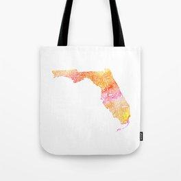 Typographic Florida - orange watercolor Tote Bag