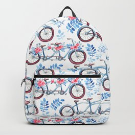 Vintage watercolor pink blue bicycle floral Backpack