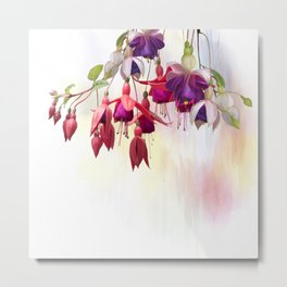 Digital Painting of  Purple and red Fuchsia Flowers Metal Print