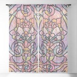 Pastel Orange, Blue and Purple Art Nouveau Stain Glass Art Sheer Curtain