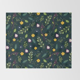 Floral Greenery Pattern I Throw Blanket