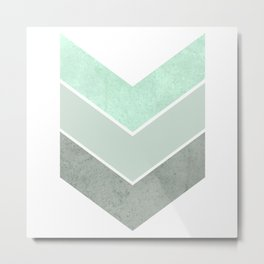 MINT TEAL GRAY CONCRETE CHEVRON Metal Print