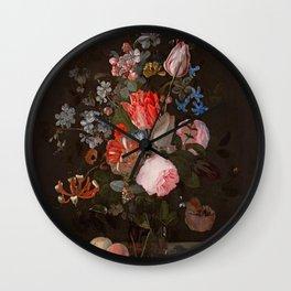 "Adriaen van der Spelt ""Still life of flowers on a stone ledge"" Wall Clock"