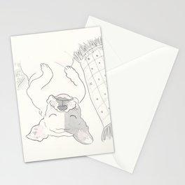 Topsy Turvy Snoozing Frenchie French Bulldog Black & White Stationery Cards