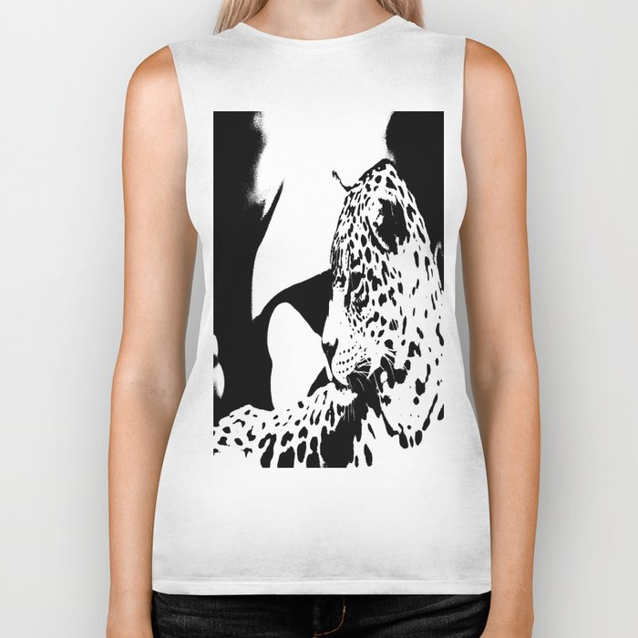 Black And White Wildcat #decor #society6 Biker Tank