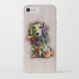 Dachshund Puppy Sketch Paint iPhone Case