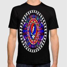 Grateful Dead 'Steal Your Face' Colorful Mandala Psychedelic Skeleton Tapestry Black Mens Fitted Tee LARGE