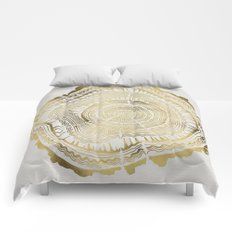 Gold Tree Rings Comforters