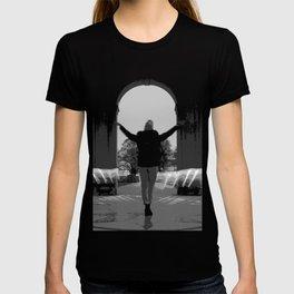 Door to freedom in black T-shirt