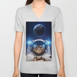 Beautiful cat in outer space Unisex V-Neck