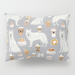 White Shepherd dog breed White German Shepherd grey coffee coffees pet friendly turquoise Pillow Sham