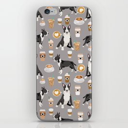 Bull Terrier coffee latte cafe dog breed cute custom pet portrait pattern iPhone Skin