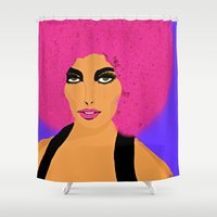 woman Shower Curtains featuring Woman  by Saundra Myles