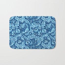 Art Nouveau Acanthus Leaves and Flowers, Sky Blue Bath Mat