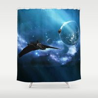 stargate Shower Curtains featuring Ships in Space by spacemonkey89