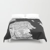 san francisco map Duvet Covers featuring San Francisco Map Gray by City Art Posters
