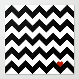 Heart & Chevron - Black/Classic Red Canvas Print