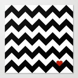 Heart & Chevron - Black/Classic Red Canvas Print
