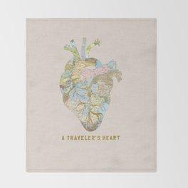 A Traveler's Heart Throw Blanket
