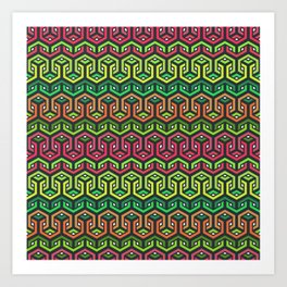 Looped Hexagons Geometric Pattern Art Print