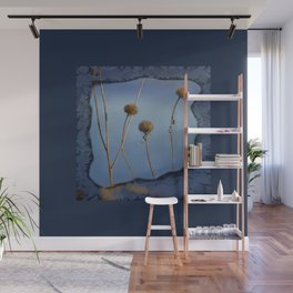 Seed Pods in Blue Frame Wall Mural