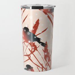 Winter pattern with bullfinches. Travel Mug