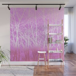 Frosted Winter Branches in Misty Pink Wall Mural