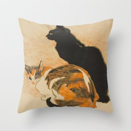 At the Bodiniere Théophile-Alexandre Steinlen 1894 Cat Ink Illustration Throw Pillow