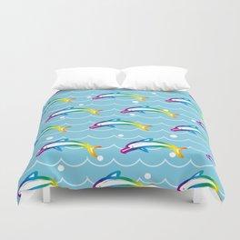 Rainbow Dolphin on the Sea Wave_C Duvet Cover