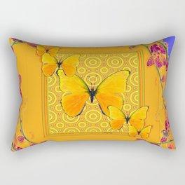 Golden Yellow Butterflies Orchid Sprays Purple Lilac Patterns Rectangular Pillow