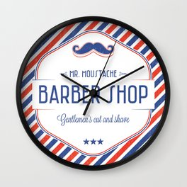 Mr. Moustache Barber Shop Wall Clock